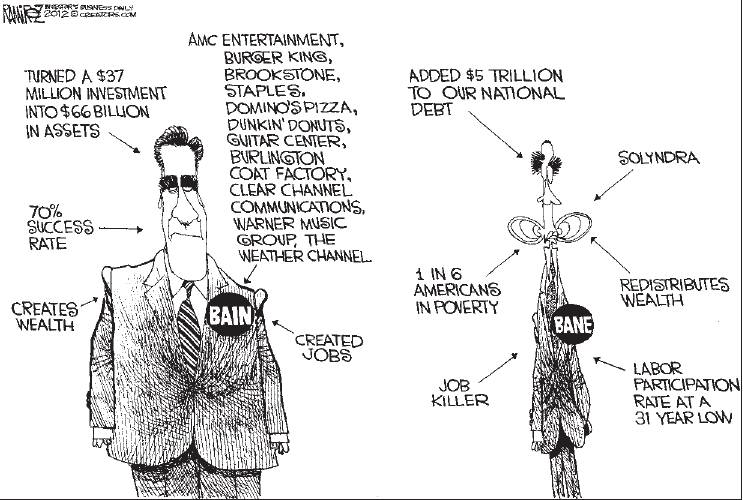 Cartoon-Romney vs. Obama