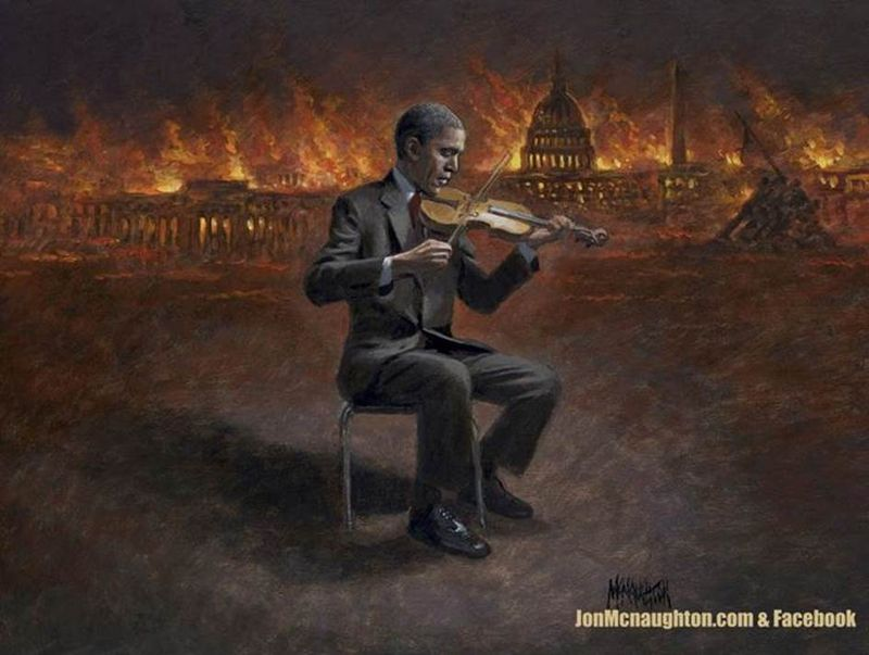 Obama fiddles while America burns